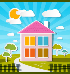 House on Sunny Day with Trees and Clouds vector image vector image