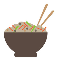 Isolated ramen bowl vector