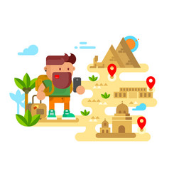 man travels around the world vector image