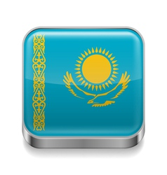 Metal icon of Kazakhstan vector image vector image