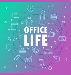 office life concept different thin line icons vector image vector image