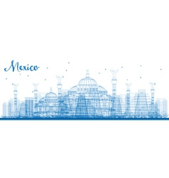 Outline mexico skyline with blue landmarks vector