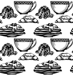 pastries and tea vector image vector image