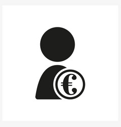 Person with euro sign in simple black design vector