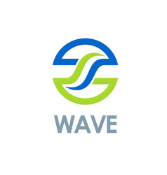 round wave business logo vector image