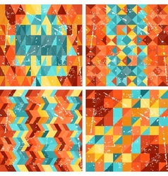 Seamless colorfull geometric patterns in retro vector image