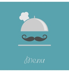 Silver platter cloche chef hat with big curl vector