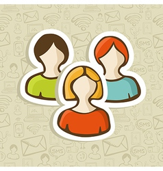 Social user group profile icons vector image vector image