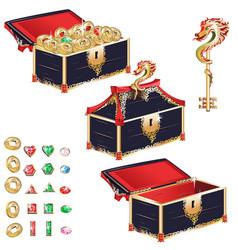 Wooden treasure chest set vector