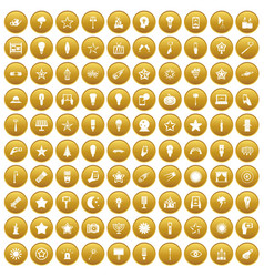 100 light icons set gold vector