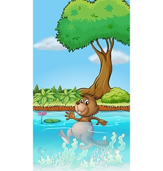 A swimming beaver vector