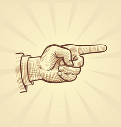 Retro hand drawn sketch pointing finger vector