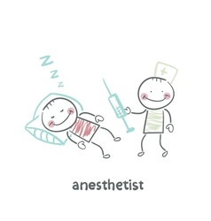 Anesthesiologist with syringe next to a sleeping vector