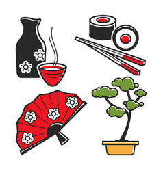 Japan culture symbols for travel and famous vector