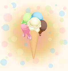 Multicolor poster - waffle ice cream cone on vector