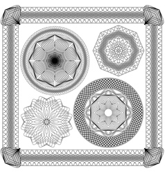 Set of vintage backgrounds guilloche ornament vector