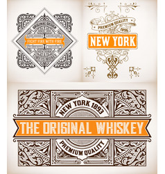 3 vintage designs layered vector image
