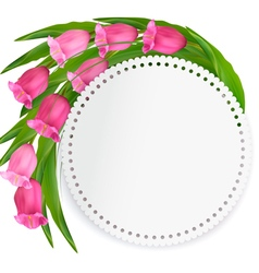 Holiday background with pink flowers and a gift vector