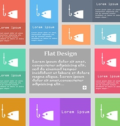 Fishing icon sign set of multicolored buttons with vector