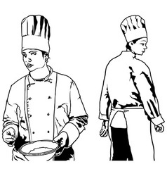 Chef woman set vector