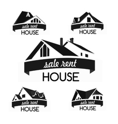 House logo template set realty theme icon vector