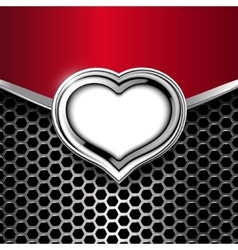 Metal background with frame of heart vector