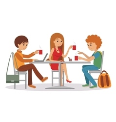 People at cafe and restaurant vector image