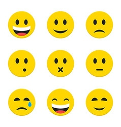 Yellow Smiley Faces over White vector image