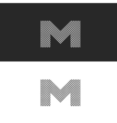 Logo letter M monogram black and white vector image
