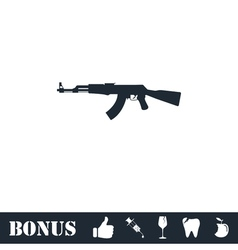 Assault rifle icon flat vector image