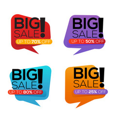 big sale stickers collection isolated on white vector image vector image