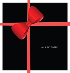 card with bow red on black vector image