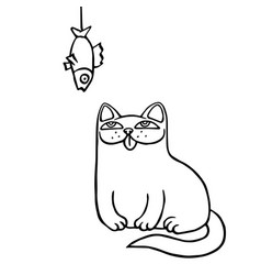 Cartoon cat sits and looks at the hanging dried vector
