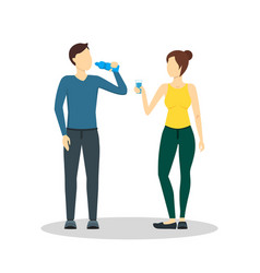 cartoon drinking water man and woman vector image