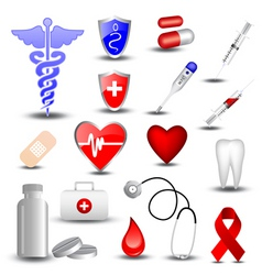 collection of medical icons vector image vector image