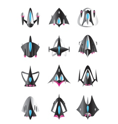 Different spaceships in flight vector image vector image