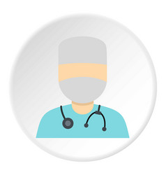 Doctor in a mask with stethoscope icon circle vector