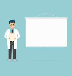 doctor with medical clipboard in hands projection vector image