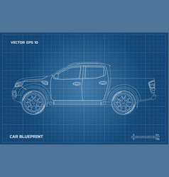 drawing of the car on a blue background vector image vector image