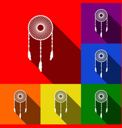 Dream catcher sign set of icons with flat vector