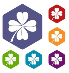 Four leaf clover icons set vector image vector image