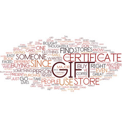 Gift certificate text background word cloud vector
