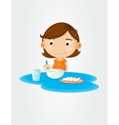 Girl eating breakfast vector image