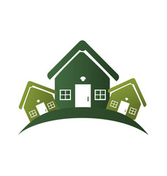 Green silhouette with group of houses vector