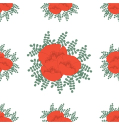 Hand drawn red poppies vector
