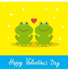 Happy Valentines Day Love card Two cute frogs Red vector image vector image