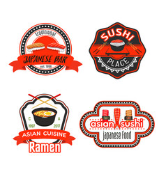Icons for japanese sushi restaurant vector