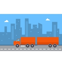 Landscape of container truck with city backgrounds vector