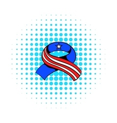 Ribbon in the USA flag colors icon comics style vector image vector image