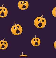 seamless pattern of cry scary halloween pumpkin vector image